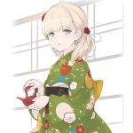 1girl bangs blonde_hair blue_eyes blunt_bangs commentary_request cowboy_shot floral_print green_kimono hair_over_shoulder japanese_clothes kantai_collection kimono long_hair looking_at_viewer official_alternate_costume sakana shin'you_(kantai_collection) solo teapot