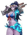 1girl bikini blue_bikini blue_hair blush bracelet carcass_(artist) closed_mouth colored_skin fingernails floral_print green_eyes gun holding holding_gun holding_weapon jewelry light_blush lipstick long_hair long_ponytail makeup navel over_shoulder overwatch ponytail purple_lips purple_lipstick purple_skin red_nails rifle simple_background sketch sniper_rifle solo sunglasses sweat swimsuit weapon weapon_over_shoulder white-framed_eyewear white_background widowmaker_(overwatch)