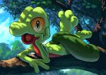 blue_eyes blue_sky clouds colored_sclera colored_skin dappled_sunlight day feet_up full_body gen_3_pokemon green_skin hand_up happy head_rest in_tree karamimame looking_at_viewer lying multicolored multicolored_skin on_stomach open_mouth outdoors pokemon pokemon_(creature) red_skin sky smile solo sunlight the_pose tree treecko two-tone_skin yellow_sclera