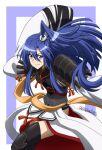 1girl armor blue_eyes blue_hair cosplay fate/grand_order fate_(series) highres kazanari_tsubasa long_hair miyabi_mt-b mizuki_nana nagao_kagetora_(fate) nagao_kagetora_(fate)_(cosplay) pauldrons seiyuu_connection senki_zesshou_symphogear shoulder_armor side_ponytail smile thigh-highs twitter_username wide_sleeves
