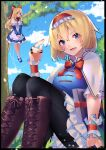 :d absurdres alice_margatroid bird black_legwear blonde_hair blue_eyes book boots bow bowtie brooch brown_footwear commission commissioner_upload cross-laced_footwear day doll hair_bow headband highres jewelry knee_boots lace looking_at_viewer md5_mismatch medium_hair nikku_hikikomori open_mouth outdoors pantyhose puppet_strings red_bow resolution_mismatch ribbon ring shanghai_doll short_hair sitting skeb_commission smile source_smaller string thighband_pantyhose touhou