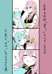 2girls ^^^ absurdres aqua_hair aqua_neckwear armband bare_shoulders black_shirt black_skirt black_sleeves breast_pillow closed_eyes commentary crossed_arms detached_sleeves facing_another from_above from_below hair_ornament hatsune_miku head_rest headphones highres long_hair looking_at_another megurine_luka multiple_girls nail_polish necktie petting pink_hair pink_nails shirt shoulder_tattoo single_detached_sleeve skirt sleeveless sleeveless_shirt smile tattoo tatyaoekaki translated twintails very_long_hair vocaloid waving white_shirt yuri
