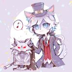 1boy :3 animal_ears biko0205 black_bow black_coat black_neckwear blue_eyes body_fur bow coat collared_shirt colored_sclera furry grey_fur grey_sclera hair_bow hat identity_v joseph_desaulniers long_sleeves male_focus moonlight_gentleman_(identity_v) musical_note necktie official_alternate_costume ponytail red_vest shirt simple_background spoken_musical_note standing tail top_hat vest white_fur white_hair white_shirt