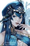 1girl au_ra bangs blue_eyes blue_hair blue_headwear blue_nails butterfly_ornament commission dolphin_5098 emain_(honkittyhonk) feathers final_fantasy final_fantasy_xiv highres jewelry looking_at_viewer parted_lips portrait smile solo