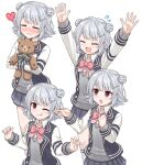 :3 arms_up ascot blazer blue_jacket blue_skirt blush cevio closed_eyes commentary double_bun grey_hair grey_sweater highres holding holding_stuffed_toy horns jacket koharu_rikka lakiston looking_at_viewer miniskirt multiple_views nichika_(nitikapo) one_eye_closed outstretched_arms pink_neckwear pleated_skirt raglan_sleeves ribbon school_uniform short_hair skirt smile striped striped_ribbon stuffed_animal stuffed_toy sweater teddy_bear tongue tongue_out violet_eyes voiceroid white_background