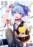 1boy ansatsu_kyoushitsu bangs birthday blue_eyes blue_hair blush bracelet collar collared_shirt confetti crossdressing doll efu flag grin happy_birthday jewelry koro-sensei kunugigaoka_middle_school_uniform long_hair long_pants looking_at_viewer male_focus necktie open_mouth otoko_no_ko pants school_uniform shiota_nagisa shirt short_hair short_sleeves short_twintails smile solo stuffed_toy tentacles twintails vest
