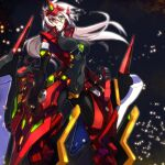 1girl alpha-01 arm_blade blazblue bodysuit breasts crotch_plate devoured_by_darkness forehead_jewel forehead_protector genderswap genderswap_(mtf) gloves green_eyes heterochromia large_breasts long_hair mecha_musume ragna_the_bloodedge red_eyes sakio_(7171) silver_hair thigh-highs weapon