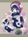 1girl :3 adapted_costume bangs black_kimono blue_eyes blue_hair commentary doremy_sweet dream_soul floral_print hat highres holding holding_plate japanese_clothes jitome kimono long_sleeves mochi nightcap nikorashi-ka oversized_food plate polka_dot polka_dot_background pom_pom_(clothes) print_headwear red_headwear short_hair solo touhou wide_sleeves