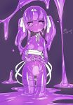 1girl akira_(meltyhip) bow closed_mouth colored_sclera colored_skin fidgeting hair_bow hair_ribbon heart heart-shaped_pupils highres long_hair looking_at_viewer monster_girl navel nude original own_hands_together purple_hair purple_sclera purple_skin purple_theme ribbon signature slime_girl solo standing symbol-shaped_pupils twintails violet_eyes white_ribbon