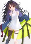 1girl :d bangs bare_shoulders black_hair black_legwear blue_jacket blush breasts brown_eyes c-ms_(girls_frontline) commentary_request dress ecleil eyebrows_visible_through_hair feet_out_of_frame girls_frontline gradient gradient_background grey_background head_tilt highres jacket long_hair looking_at_viewer multicolored_hair off_shoulder open_clothes open_jacket open_mouth parted_bangs purple_hair single_thighhigh sleeveless sleeveless_dress small_breasts smile solo standing thigh-highs two-tone_hair very_long_hair white_background white_dress