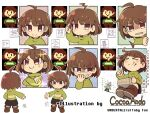 >_< asriel_dreemurr bangs black_shorts blush boots brown_eyes brown_footwear brown_hair chara_(undertale) chocolate closed_eyes closed_mouth crossed_arms crying earrings food food_on_face from_behind frown full_body goat_boy green_shirt hand_on_own_face hand_on_own_head holding holding_chocolate holding_food houten_(dre_a_mer) jewelry looking_at_viewer peeking_out pixel_art shiny shirt short_hair shorts sitting smile standing sweatdrop undertale upper_body white_background