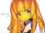 1girl akira_(meltyhip) blue_eyes closed_mouth colored_sclera colored_skin hand_up looking_at_viewer monster_girl orange_hair orange_sclera orange_skin original slime_girl smile solo upper_body