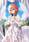 1girl absurdres bangs bare_shoulders blue_eyes blue_sky blush bride candle closed_mouth clouds day dress elbow_gloves eyebrows_visible_through_hair feet_out_of_frame flower gloves go-toubun_no_hanayome hair_between_eyes headphones highres huge_filesize layered_dress long_hair looking_at_viewer ms_childofart nakano_miku off-shoulder_dress off_shoulder orange_hair outdoors petals rose sky smile solo standing tiara wedding_dress white_dress white_flower white_gloves white_rose