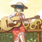 1girl acoustic_guitar bow bowtie collared_shirt crossed_legs dress eyebrows_visible_through_hair field flower flower_field frills green_hair guitar hat hat_bow highres instrument kazami_yuuka kim_aendeo long_sleeves music phantasmagoria_of_flower_view plaid plaid_dress playing_instrument red_dress red_eyes shirt short_hair sitting smile straw_hat sunflower sunset touhou wavy_hair white_shirt yellow_neckwear