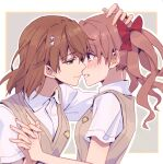 2girls blush bow brown_eyes brown_hair eyebrows_visible_through_hair flower hair_flower hair_ornament hand_on_another's_head highres holding_hand huakuiliehuo imminent_kiss looking_at_another misaka_mikoto multiple_girls red_bow school_uniform shirai_kuroko short_twintails smile teeth to_aru_majutsu_no_index tokiwadai_school_uniform twintails yuri