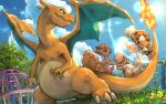 charizard charmander claws closed_mouth clouds commentary_request day fang fang_out fire flame from_below gen_1_pokemon grass growlithe looking_back no_humans outdoors playground pokemon pokemon_(creature) sky tapioka_chaso vulpix