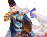 1boy abe_no_seimei_(onmyoji) black_headwear blue_eyes blue_ribbon bridal_gauntlets closed_mouth fan folding_fan hair_ribbon hat highres holding holding_fan japanese_clothes jrobinkim long_hair long_sleeves looking_at_viewer magatama male_focus onmyoji ribbon simple_background solo standing tate_eboshi upper_body very_long_hair white_background white_hair wide_sleeves