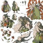 1boy alternate_costume alternate_hairstyle ashiya_douman_(fate) asymmetrical_clothes asymmetrical_hair bell black_eyes black_hair black_nails chibi collage colored_skin curly_hair earrings fate/grand_order fate_(series) fingernails green_eyeshadow green_jacket green_kimono green_lipstick green_nails hair_bell hair_between_eyes hair_intakes hair_ornament highres itokin0 jacket japanese_clothes jewelry kimono lipstick long_hair magatama magatama_earrings makeup male_focus multicolored_hair multiple_views muscular muscular_male official_alternate_costume ojou-sama_pose open_clothes open_kimono red_skin ribbed_sleeves sharp_fingernails shikigami single_bare_shoulder two-tone_hair very_long_fingernails very_long_hair white_hair