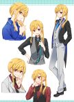 1girl asazuki_norito blonde_hair collared_shirt eyebrows_visible_through_hair formal grin hands_in_pockets looking_at_viewer looking_away neck_ribbon necktie open_mouth original ponytail red_eyes ribbon shirt sidelocks smile suit tailcoat v waistcoat