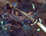 1boy arms_up blue_eyes blue_fire blue_flower blue_hair blue_theme closed_mouth fate/grand_order fate_(series) fighting_stance fingernails fire flame flower hair_between_eyes holding holding_sword holding_weapon japanese_clothes kanrinin_(gyfp4747) katana long_hair long_sleeves male_focus petals sasaki_kojirou_(fate) scabbard sheath solo sword unsheathed weapon wide_sleeves