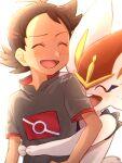 1boy antenna_hair bangs brown_hair chitozen_(pri_zen) cinderace closed_eyes commentary_request eyelashes gen_8_pokemon goh_(pokemon) hair_ornament highres hug hug_from_behind light_blush male_focus open_mouth pokemon pokemon_(anime) pokemon_(creature) pokemon_swsh_(anime) short_sleeves signature smile tongue watermark white_background |d