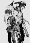 1boy back-to-back belt claws closed_mouth dark_persona demon_boy demon_wings devilman devilman_(character) fudou_akira grey_background greyscale hands_in_pockets hatching_(texture) head_wings highres monochrome navel otsu_(outsunaruse) pectorals simple_background sketch smile wings