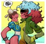 2girls artist_name bodysuit bracelet brown_hair bun_cover chinese_clothes chun-li cropped_jacket double_bun gloves hand_on_another's_chin hand_on_hip headband highres jewelry marvel marvel_vs._capcom marvel_vs._capcom_2 multicolored_hair multiple_girls philip_bawasanta rogue_(x-men) spiked_bracelet spikes spoken_squiggle squiggle street_fighter two-tone_hair x-men yuri