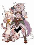 animal_costume animal_ears animal_hood arm_guards axe bare_legs bell bell_collar belt berserker_(final_fantasy) collar facial_hair facial_mark fake_animal_ears fake_tail family fang fang_out final_fantasy final_fantasy_v fur_trim galuf_halm_baldesion grey_hair holding holding_weapon hood krile_mayer_baldesion saito_piyoko sandals simple_background tail teeth thigh_strap weapon weapon_on_back wolf_costume wolf_ears wolf_pelt wolf_tail