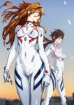 blue_eyes breasts brown_hair covered_navel glasses gloves hands_on_hips headgear highres kiyohisa long_hair looking_to_the_side makinami_mari_illustrious neon_genesis_evangelion open_mouth plugsuit rebuild_of_evangelion shikinami_asuka_langley skin_tight souryuu_asuka_langley