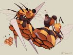 0_0 a-nya bee beedrill blush bug combee commentary_request eye_contact gen_1_pokemon gen_4_pokemon heart highres hug insect looking_at_another mega_beedrill mega_pokemon no_humans pokemon pokemon_(creature) red_eyes sparkle sweatdrop vespiquen watermark
