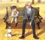 2boys amuro_tooru animal autumn autumn_leaves bangs bench black-framed_eyewear black_footwear blonde_hair blue_eyes blush brown_footwear brown_hair brown_legwear can canned_coffee casual child closed_mouth coat commentary_request day dog edogawa_conan falling_leaves food food_on_face full_body glasses green_shorts grey_coat harness holding holding_can holding_food holding_leash k_gear_labo leaf leash long_sleeves looking_to_the_side male_focus meitantei_conan multiple_boys on_bench one_eye_closed open_clothes open_coat park_bench shirt shoes short_hair shorts sitting sitting_on_bench smile socks sweater white_dog white_shirt white_sweater wiping_face
