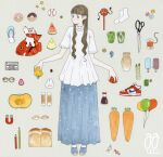 1girl awai880 balloon bangs baseball blue_eyes blue_footwear blue_skirt blunt_bangs blush brown_hair carrot doughnut food frilled_shirt frills fruit full_body glasses long_hair long_skirt looking_at_viewer magnet nigirizushi original pencil pepper popsicle pot red_footwear sandals scissors shirt shoes short_sleeves signature skirt socks solo standing star_(symbol) sushi tomato watermelon white_shirt