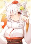 1girl ;) blush breasts commentary_request hand_up hat holding holding_paper inubashiri_momiji large_breasts one_eye_closed paper red_eyes red_headwear rururiaru sash short_hair smile solo tokin_hat touhou upper_body white_hair white_robe