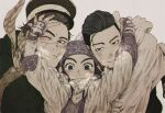 1girl 2boys ainu ainu_clothes arms_up asirpa bandana black_coat black_eyes black_hair black_jacket blue_bandana blue_eyes blush brown_hair cape closed_mouth coat collared_jacket commentary_request ear_piercing earrings facial_hair fur_cape golden_kamuy grey_background hair_slicked_back hair_strand hat hood hood_down hooded_cape hoop_earrings hug imperial_japanese_army jacket jewelry kepi long_hair long_sleeves looking_at_viewer military military_hat military_uniform multiple_boys ngy09 ogata_hyakunosuke one_eye_closed pale_color piercing scar scar_on_cheek scar_on_face scar_on_mouth scar_on_nose scarf short_hair simple_background smile star_(symbol) stubble sugimoto_saichi undercut uniform upper_body white_cape yellow_scarf