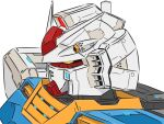 aron_e close-up glowing glowing_eyes gundam looking_down mecha mobile_suit_gundam no_humans rx-78-2 science_fiction solo v-fin white_background yellow_eyes