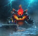 3boys 3d absurdres artist_request backlighting bandana blank_eyes bowser bowser_jr. bracelet breathing_fire brown_footwear brown_hair claws clenched_hands clouds cloudy_sky fangs fire from_behind full_body giant giant_monster gloves glowing glowing_eyes grass hand_up hat highres holding holding_paintbrush horns ivy jewelry lighthouse lightning long_sleeves looking_at_viewer male_focus mario mario_(series) mega_fury_bowser monster multiple_boys nintendo ocean official_art open_mouth outdoors overalls paintbrush partially_submerged rain red_headwear red_shirt redhead shirt shoes short_hair sky spiked_armlet spiked_bracelet spiked_shell spikes standing super_mario_3d_world thick_eyebrows topknot v-shaped_eyebrows wading water white_eyes white_gloves