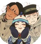 1girl 2boys 4km_ro ainu ainu_clothes bangs black_hair black_headwear blush buttons child closed_eyes closed_mouth coat collared_coat commentary_request dark_skin dark_skinned_male enonoka facial_hair facing_viewer gloves golden_kamuy grey_coat grey_gloves hat hood hood_down hooded_coat imperial_japanese_army kepi koito_otonoshin long_sleeves medium_hair military military_hat military_uniform mittens multiple_boys open_mouth parted_bangs short_hair simple_background smile star_(symbol) stubble tsukishima_hajime two-tone_headwear uniform upper_body white_background wide_sleeves winter_clothes