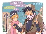 2boys animal_print battle_tendency black_hair blonde_hair bo_bo_milk building caesar_anthonio_zeppeli cow_print day english_text facial_mark feathers fingerless_gloves gloves green_eyes hair_feathers hat jacket jojo_no_kimyou_na_bouken joseph_joestar_(young) lamppost looking_at_another male_focus multiple_boys scarf sky smile speech_bubble star_(symbol)