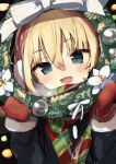 1girl bangs black_coat blonde_hair blue_eyes blush bob_cut bow breath christmas christmas_ornaments coat commentary eyebrows_visible_through_hair fang flower fur-trimmed_sleeves fur_trim gingerbullet girls_und_panzer green_scarf highres holding holding_wreath katyusha_(girls_und_panzer) long_sleeves looking_at_viewer multicolored multicolored_clothes multicolored_scarf open_mouth red_mittens red_scarf scarf short_hair smile solo upper_body white_bow white_flower wreath
