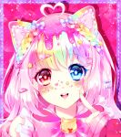 1girl ahoge animal_ears bell blue_bow blue_eyes borrowed_character bow braid cat_ears hair_bow hair_ornament hairclip heart_hair heterochromia highres icing linnea_kataja multicolored_hair open_mouth original pink_bow pointing pointing_at_self rainbow_hair red_eyes solo sprinkles star_(symbol) star_hair_ornament
