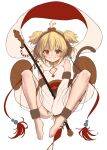 1girl :d alphy andira_(granblue_fantasy) animal_ears antenna_hair bangs barefoot between_legs blonde_hair blush breasts collarbone detached_sleeves erune granblue_fantasy grin hagoromo hand_between_legs highres knees_up leotard looking_at_viewer monkey_ears monkey_girl monkey_tail open_mouth sash see-through_sleeves shawl short_hair sidelocks simple_background sleeveless small_breasts smile solo symbol_commentary tail two_side_up white_background white_leotard wide_sleeves