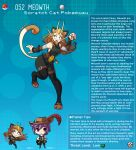 1boy 1girl animal_ears artist_name belt belt_pouch brown_hair cat_ears cat_girl character_name character_profile claws digitigrade english_commentary english_text fangs gen_1_pokemon hat highres kinkymation meowth open_mouth personification poke_ball pokemon pouch purple_hair standing standing_on_one_leg tail vambraces whiskers