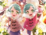 bang_dream! blush dress green_eyes green_hair hikawa_hina hikawa_sayo short_hair smile