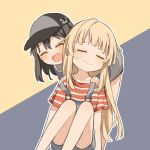 2girls bang_dream! bangs bare_legs baseball_cap bent_over black_hair black_headwear blonde_hair blush closed_eyes closed_mouth eyebrows_visible_through_hair feet_out_of_frame hands_on_another's_shoulders hat medium_hair multiple_girls okusawa_misaki open_mouth overalls personality_switch shirt short_sleeves sidelocks sitting smile standing strap_slip striped striped_shirt sururufu sweatdrop t-shirt tsurumaki_kokoro two-tone_background