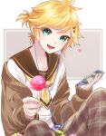 1boy aqua_eyes black_collar blonde_hair cable candy cellphone collar commentary earphones food giving hair_ornament hairclip heart highres holding holding_candy holding_food holding_lollipop holding_phone kagamine_len lollipop looking_at_viewer male_focus nail_polish necktie open_mouth pants phone plaid plaid_pants sailor_collar school_uniform shirt short_ponytail sitting smartphone smile soramame_pikuto spiky_hair vocaloid white_shirt yellow_nails yellow_neckwear
