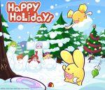 >_< 3boys 5girls :d absurdres ahoge amitie_(puyopuyo) andou_ringo apple arle_nadja bangs black_gloves black_legwear blonde_hair blunt_bangs brown_eyes brown_hair carbuncle_(puyopuyo) character_hair_ornament christmas christmas_tree closed_eyes closed_mouth cloud_hair_ornament dress drill_hair ess_(puyopuyo) eyebrows_visible_through_hair food fruit gloves green_hair hair_ornament happy_holidays hat highres long_hair marle_(puyopuyo) medium_hair multiple_boys multiple_girls o_(puyopuyo) object_namesake open_mouth parted_bangs pine_tree ponytail purple_hair puyopuyo puyopuyo_tetris redhead sega shiny shiny_hair short_hair sky smile snow snowball snowball_fight tee_(puyopuyo) tetris thesketchsector tree twin_drills twintails umbrella violet_eyes watermark xd