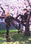 2boys amuro_tooru bangs black_jacket black_pants blonde_hair blue_eyes book brown_footwear brown_hair cherry_blossoms commentary_request dappled_sunlight day eye_contact falling_petals flower from_side full_body gakuran grass hair_between_eyes hand_in_pocket hand_up holding holding_book in_tree jacket k_(gear_labo) knees_up kudou_shin'ichi long_sleeves looking_at_another male_focus meitantei_conan multiple_boys open_book outdoors pants petals pink_flower school_uniform shoes short_hair sitting sitting_in_tree socks spring_(season) standing sunlight tree what_if white_legwear