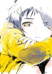 1girl blue_eyes blue_hair close-up commentary copyright_name frown hair_ornament hair_over_one_eye hairpin heterochromia highres hood hoodie knees_up ooto_ai partially_colored short_hair sitting sketch solo triangle_hair_ornament wakame_(pixiv128625) wonder_egg_priority yellow_eyes yellow_hoodie