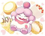 blush closed_eyes commentary_request fangs food fruit full_body gen_6_pokemon heart iroyopon no_humans open_mouth pokemon pokemon_(creature) slurpuff smile strawberry toes tongue tongue_out