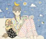 1girl awai880 bangs black_eyes blunt_bangs book braid bright_pupils crescent_moon feet_out_of_frame floral_print grey_hair house knees_up long_hair long_sleeves moon open_book original pants pillow planetary_ring print_pants print_shirt shirt signature sky solo star_(sky) star_(symbol) starry_sky stuffed_animal stuffed_toy twin_braids ufo white_pupils